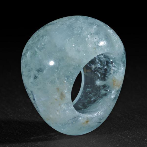 Aquamarin aus Pakistan, handgeschliffener Ring