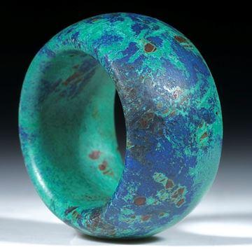 Azurit Malachit, Marokko, handgeschliffener Ring mattiert, drehrunde Form
