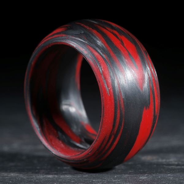 Karbonring, Carbon / Cadmiumrot hell, gewickelt (Duplex)