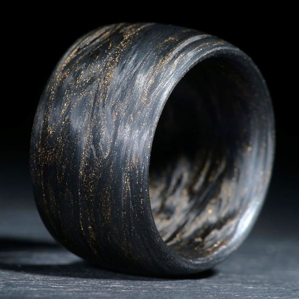 Karbonring gewickelt, metallic Gold matt