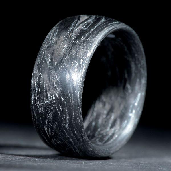 Karbonring gewickelt, metallic Silber matt