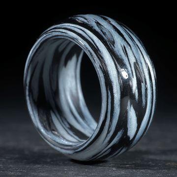 Karbonring, Carbon / Icy White gewickelt (Duplex)