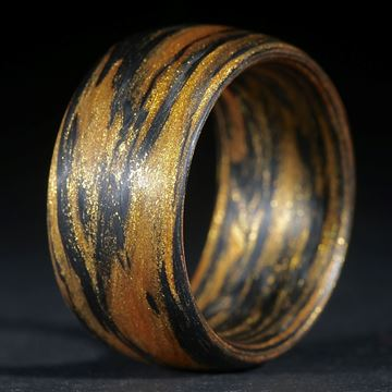 Karbonring, Carbon / Mira Cosmic Gold gewickelt (Duplex)