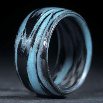 Karbonring, Carbon / Zirkon-Cölinblau (Duplex) poliert