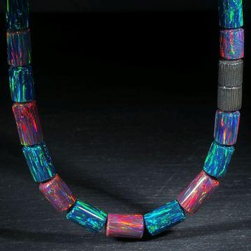 Collier aus synthetischem Opal, Länge 49cm