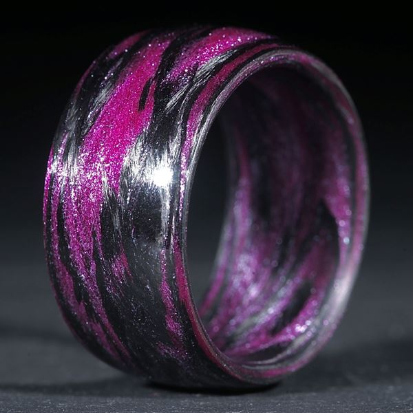 Fingerring Karbon / Mira Silber, Pink (Duplex)