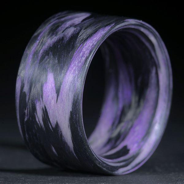 Fingerring Karbon /Xirallic Amethyst, gewickelt (Duplex)