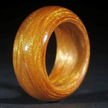Fingerring, Glasfaser handgewickelt (Mira Cosmic Gold, Perlglanzpigment)