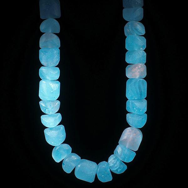 Fusingglas Collier, Fantasieform Kupfer / Blau