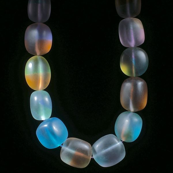 Fusingglas Collier, transparente Blockformen