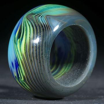 Fusing-Glas-Ring, blau-gelb gestreift