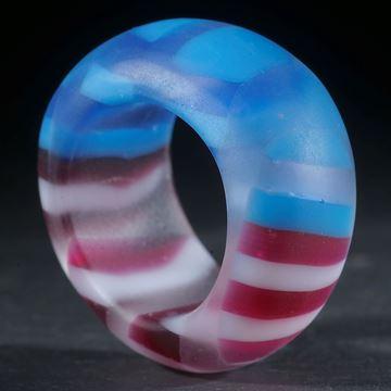 Fusing-Glas-Ring, geschwungen geschliffen matt