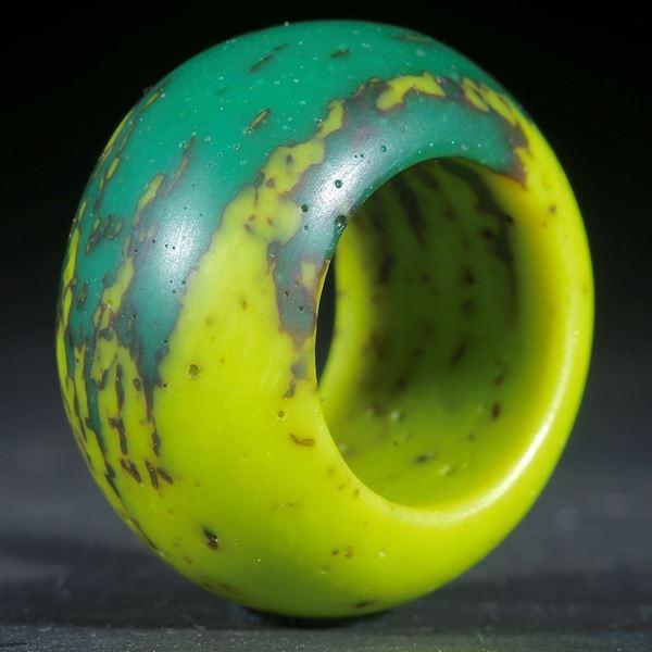 Fusing-Glas-Ring, Grün/Gelb matt