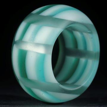 Fusing-Glas-Ring, Grün/Weiss gestreift, matt