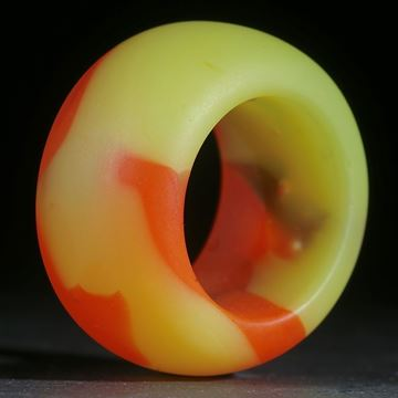 Fusing-Glas-Ring, Orange / Gelb matt