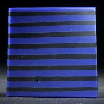 Fusing-Glas Viereck, Blau/Schwarz, gebogene Form matt