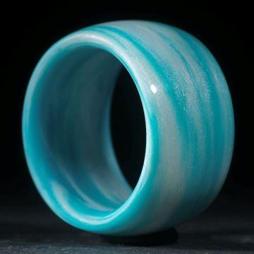 Glasfaserring, handgewickelt (Kobaltblau Türkis hell mit Polarsilber Perlglanz, Duplex)