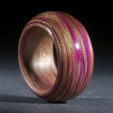 Glasfaserring, handgewickelt (Kovaltviolett hell mit Bleichgold (Duplex)