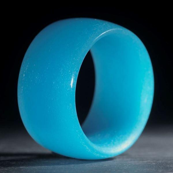 Glasfaserring, handgewickelt, Zirkon-Cölinblau