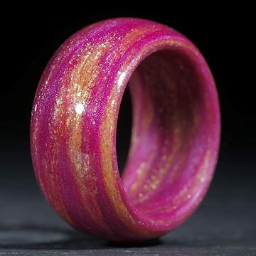 Glasfaser Fingerring, handgewickelt, Pink mit Glitzergold (Duplex) poliert