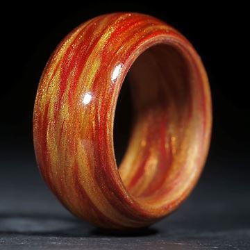 """Glasfaser Fingerring """"Herbstfarben"""" (Multiplex V3) poliert"""
