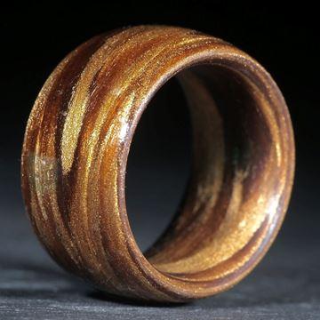 Glasfaser Fingerring, Umbra gebrannt mit Bleichgold (Duplex) poliert