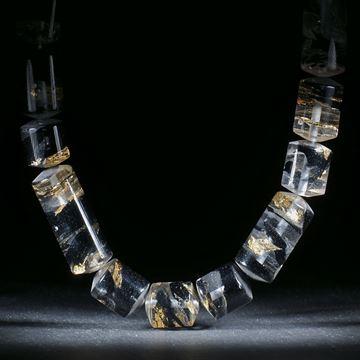 Goldglas Collier mit schwarzem Glas