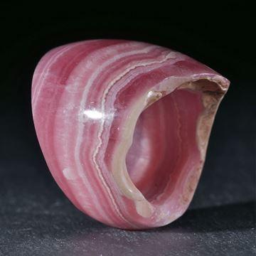 Edelsteinring, Rhodochrosit (Argentinien), konisch geschliffen, aussen gewölbt und poliert