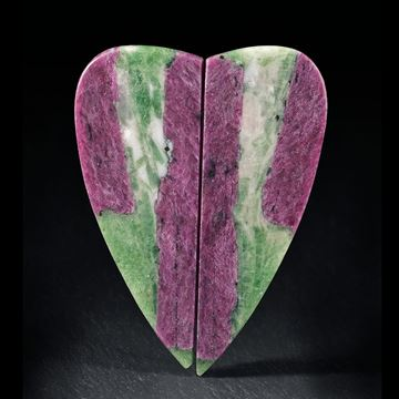 Rubinpaar Herzform mit Fuchsit