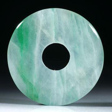 Set aus 2 Jadeit Pi-Scheiben, beidseitig gewölbt und poliert