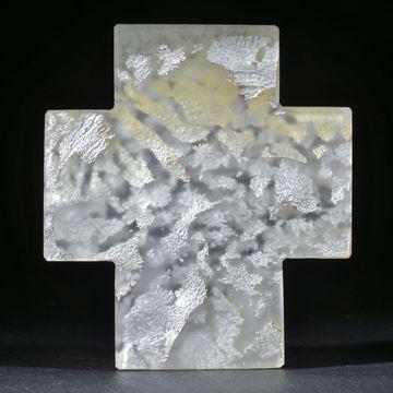 Silberglas Kreuz, 76x67x8mm