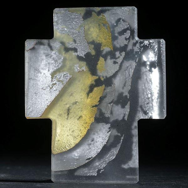 Silberglas-Kreuz, flach matt, ca.54x43x4mm
