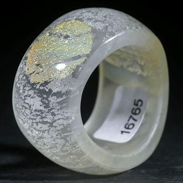 Silberglas-Ring geschwungene Form, aussen gerundet