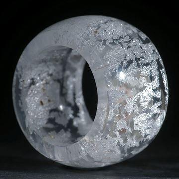 Silberglas-Ring, parallel, aussen gerundet und poliert