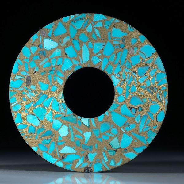 Türkis in Messingmatrix, runde Scheibe mattiert ca. 63x63x3mm