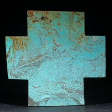 Türkiskreuz, flach, eine Seite poliert, ca.56x58x5mm, handgeschliffenes Einzelstück
