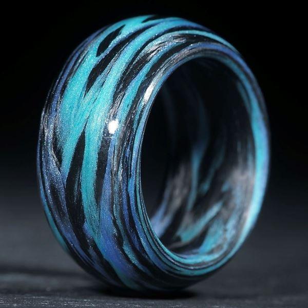 Karbonring, Carbon / Glasfaser Blau, Hellblau (Multiplex V1)