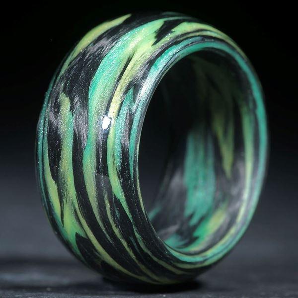Karbonring, Carbon / Glasfaser Grün, Gelb (Multiplex V2)