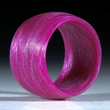 Fingerring Glasfaser handgewickelt, Pink mit Mira Silber