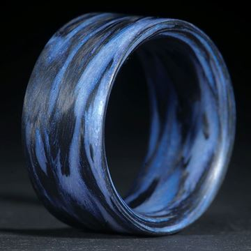 Fingerring Karbon /Xirallic Tigris Blue, gewickelt (Duplex)