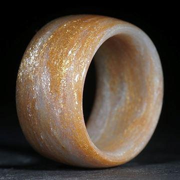 Glasfaserring, Glitzergold / Silber Flitter grob (Duplex) poliert