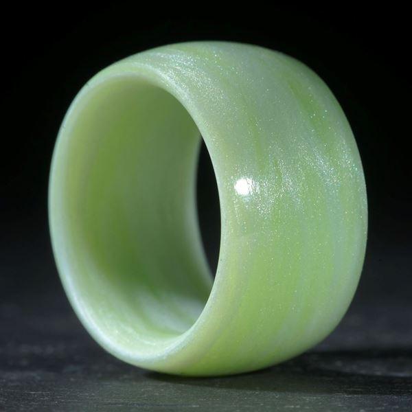 Glasfaserring, handgewickelt (Cadmiumgrün hell mit Icy White, Duplex)