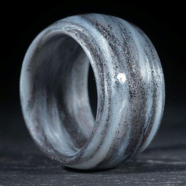 Glasfaser handgewickelt (Hämatitkristalle mit Icy White, Duplex)