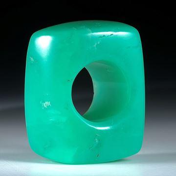 Edelsteinring Chrysopras, grosser schwerer Ring