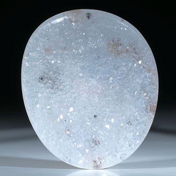 53217Achat mit Kristallfläche, ovale, gebogene Form
