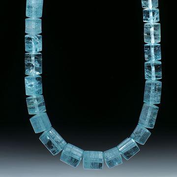 Aquamarin Brasilien, Collier aus Zylinderformen