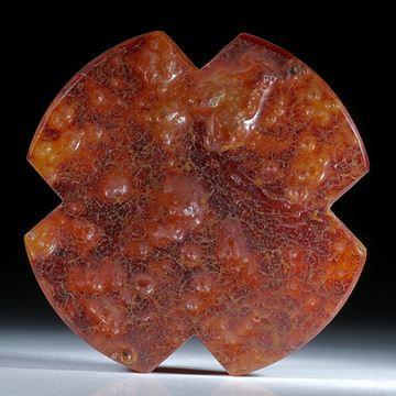 Karneol Kreuz mit naturbelassener Oberfläche ca.58x58x9mm