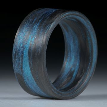 Karbonring Carbon/Mira Türkis gewickelt (Duplex) matt, parallel innen gerundet