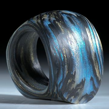 Karbonring handgewickelt mit Glasfaser Mira Türkis, Mira Sonnengold