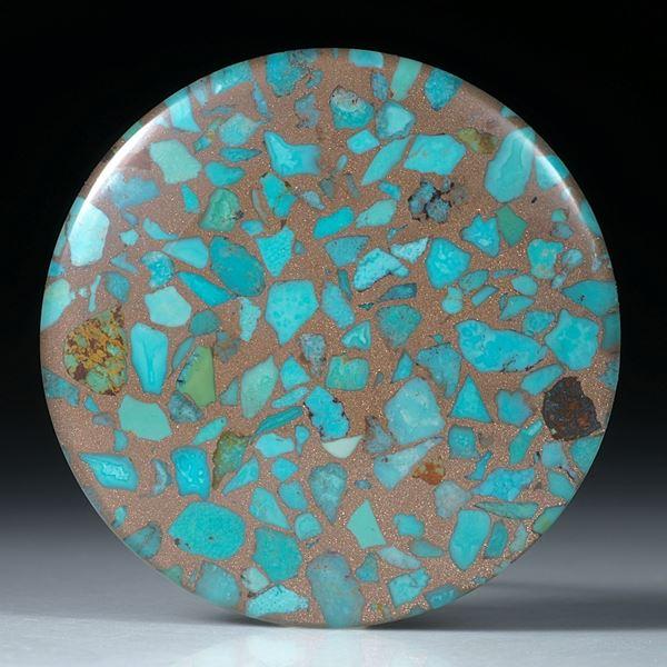 Türkis in Bronzematrix, mit Bergkristall doublettiert, runder Cabochon